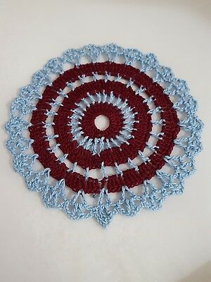 Burgundy in Baby Blue  Bumblebee doily Approximately 5 Inches.