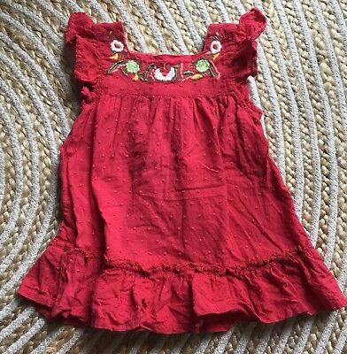 Vintage Red Embroiderd Flower Mexican Baby Girl Dress Size 1 Hippy Boho Retro