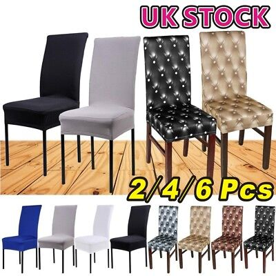 2/4/6Pcs Chair Covers Removable Stretch Slipcovers Dining Room Spandex Fabric