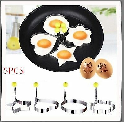 5PCS Fried Egg Pancake Heart shaper Stainless Steel Mould Mold Kitchen Rings