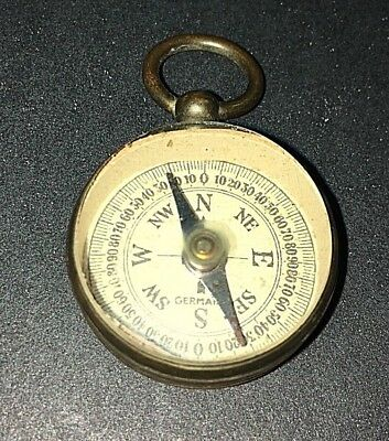 Vintage Small Brass Compass Made in Germany - Pendant Style