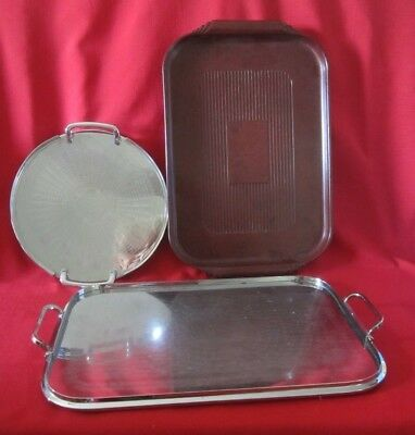 2 Vintage Ranleigh Stainless Steel Serving Trays& Bakelite Tray-Some Damage-Used