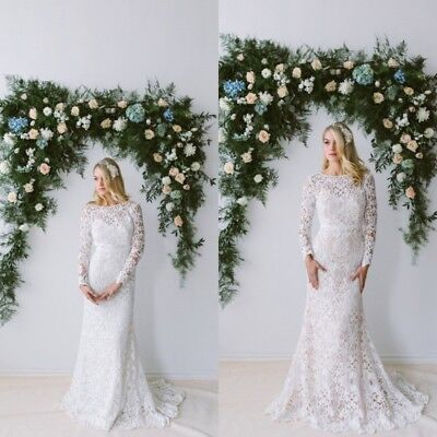 WEDDING DRESSES LONG Sleeves Bridal Gowns Plus Size 0 2 4 6 8 10 12 14 16  18 20