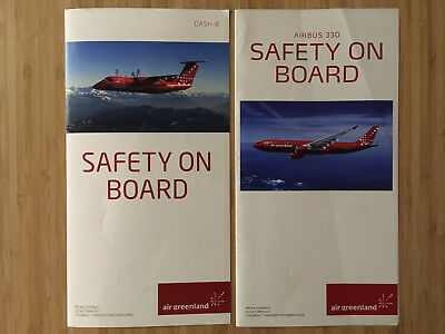 Air Greenland A330,  Dh8 Safety Card Set Of 2