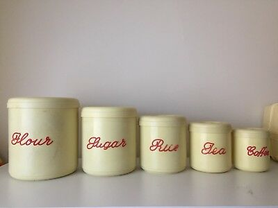 Vintage Nally Ware 5 set Bakelite Canisters, Cream With Red Writing Rare