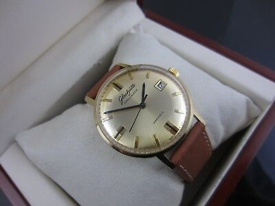 "=>!!!.. GOLDEN EYE...!!!<= HQ Leather GUB GLASHÜTTE ""Spezimatic"" 26 Rubis kal 75"