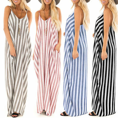 Women Holiday Striped Loose Ladies Maxi Long Boho Summer Strap Sling Beach Dress