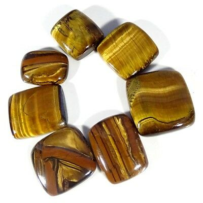 197.00Cts 100% Natural Golden Tiger Eye Mix Shape 7 Piece Lot Loose Gemstone
