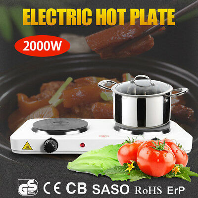 2000W Electric Dual Hot Plate Portable Cooker Cooktop Kitchen Caravan Camping
