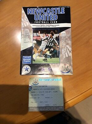 NEWCASTLE UNITED V Blackburn rovers fa cup 1995 PROGRAMME and ticket