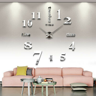 3D DIY Wall Clock Large Luxury Mirror Design Home Decoration Black & Silver