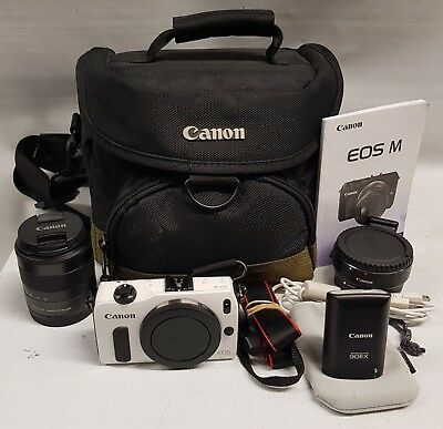 Canon EOS M Camera & Extras - Lens Adapter  Flash Bag - Fast Post!