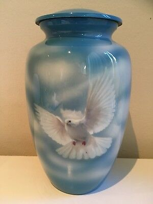 Cremation Urn -Blue Dove_ Aluminium Adult