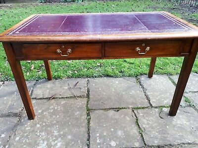 Antique oak leather topped  Writing Desk/Table with 2 Drawers