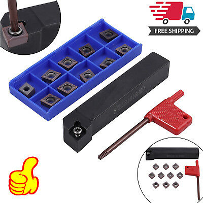 10pcs CCMT09T304 SCLCR1616H09 Carbide Inserts Lathe Turning Cutter Holder Tool