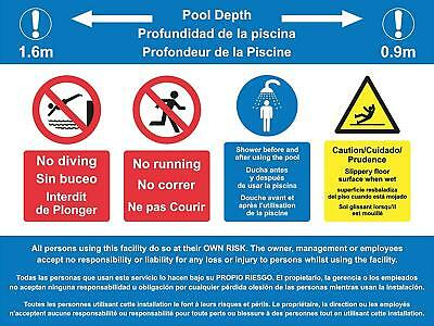 Multi language sign English, French and Spanish Swimming Pool Rules sign