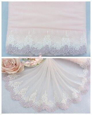 """8""""*1Y Embroidered Floral Tulle Lace Trim~Light Pink+Light Purple+White~Cute Bows"""