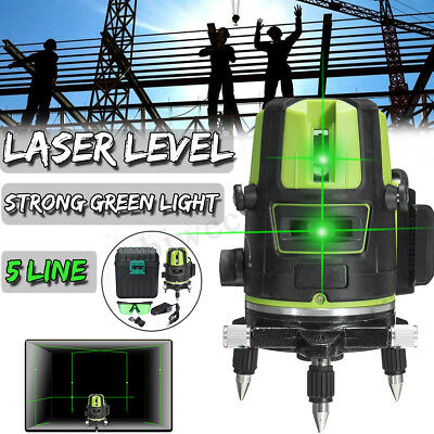 3D 5 Lines Green Laser Level 360° Rotary Cross Self Leveling Horizontal Vertical