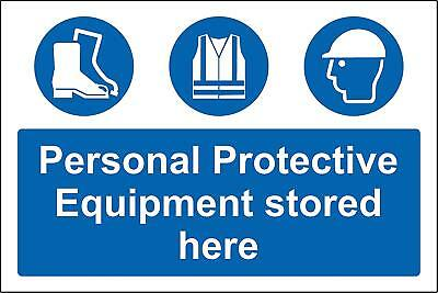 Personal protective equipment stored here Safety sign with symbols