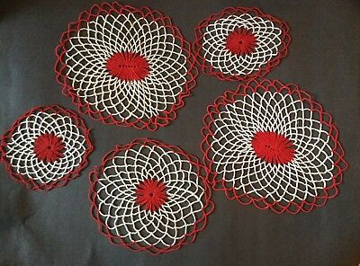 Vintage Lot Of 5 Red White Crocheted 6, 8, 10  Inch Doilies