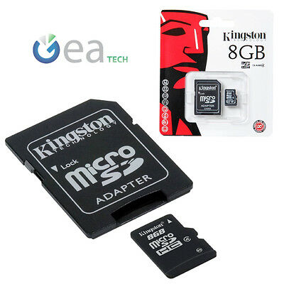 KINGSTON Microsd 8gb Original Memoria Micro sd Tarjeta 8 GB + Adaptador