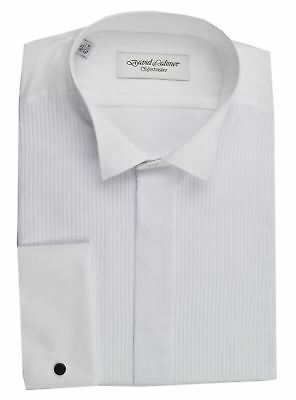 David Latimer Mens Mock Pleat Wing Collar Dress Shirt in White