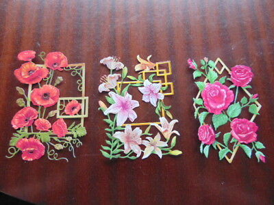 TATTERED LACE Die Cuts Cut Flowers on Trellis Rose Poppy Lily 6 colours choice