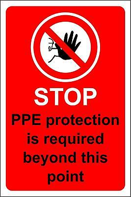 Stop PPE protection is required beyond this point safety sign
