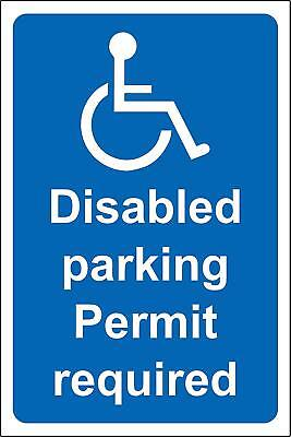 Disabled parking Permit required Safety sign