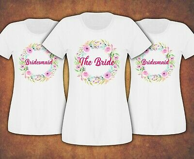 Free delivery  Hen Do Party Bridesmaid Bride Floral T-shirt Ladies Female