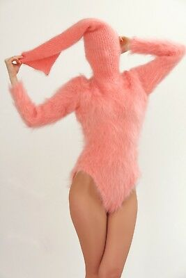 Pink sweater hand knitted mohair bodysuit fuzzy with extra long turtleneck SALE