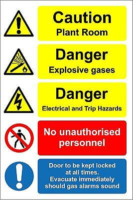 Caution plant room - Danger explosive gases safety sign with multi symbols