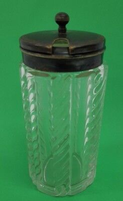 Vintage Decorative Glass Mustard Pot with Metal (Silver Plated?) Lid - Q54