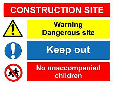 Construction site safety sign - Children must be accompanied dangerous site kee