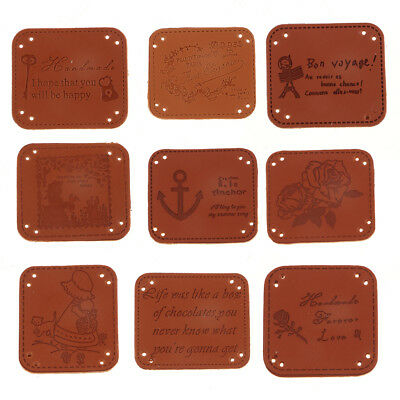 20pcs Vintage PU Leather Tags Labels for Sewing Clothes Patches DIY Crafts