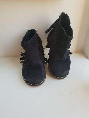 ZARA GIRLS leather SUEDE ANKLE BOOTS EURO SIZE 23 navy blue Size 6