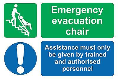 Emergency evacuation chair assistance sign