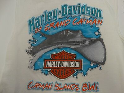 Harley-Davidson Men's Cayman Islands White Sleeveless T-Shirt  Size L