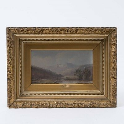 """Original Framed Landscape Oil Painting on Canvas Mountains & Lake 16-3/8"""" x 12"""""""