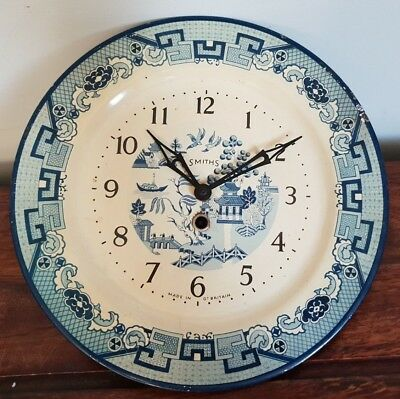 Antique 1940's Smiths Willow Pattern Tin Plate Wall Clock (Blue White Oriental)
