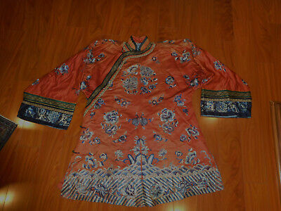 Antique Chinese Robe Colorful Silk Embroidered lovely and happy piece Asian Art