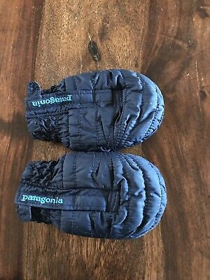 Patagonia Infant Blue Puff Mitts Mittens Gloves 6-12 Mo