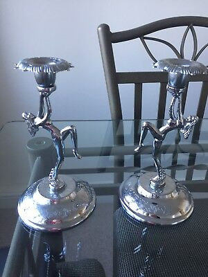 Antique Art Deco Naked Nude Dancing Lady Woman Chrome Candlestick Holder Pair
