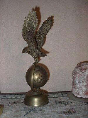 VNTG BRASS EAGLE STATUE PERCHED on BRASS GLOBE  14""