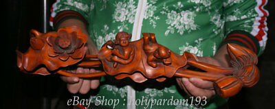 """16"""" Chinese Old antique Boxwood Wood Carving lotus leaf Two Tongzi Ru Yi Statue"""