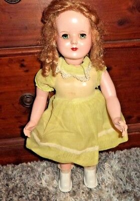 "Vintage Wind-up Mechanical Walking 18"" Doll in Good Working Condition Some TLC"