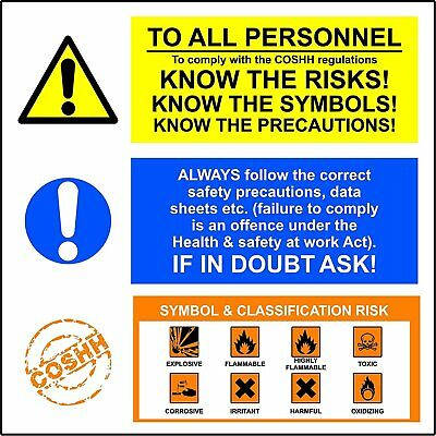 TO ALL PERSONNEL. To comply with COSHH regulations. KNOW THE RISKS!