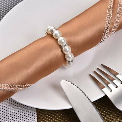 12PCS Faux Pearl Spring Napkin Ring Serviette Holder Wedding Banquet Table Decor