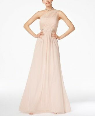 Nwt $499 Adrianna Papell Women'S Pink One-Shoulder Embellished Gown Dress Size 6
