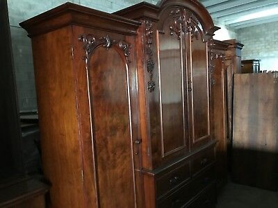 English Mahogany Breakfront Wardrobe c1850